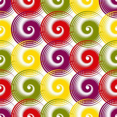 Spiral swirls creative seamless pattern vector design. Round spiral scrolls, circle swirls geometric elements, curly vortex tiles. Cute swirl scrolls abstract background seamless pattern.