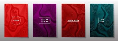 Curve topography lines imitation creative vector covers set. Geography magazine front pages abstract topographic map lines design. Curve texture fluid shapes backgrounds. Scientific cover templates. 向量圖像