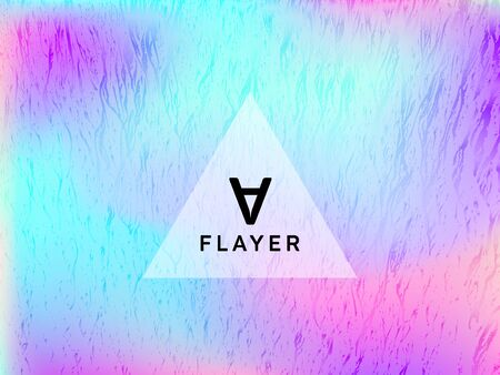 Creative voucher geometric holographic vector background. Club party placard abstract backdrop. Chrome abstract geometric template for voucher design.