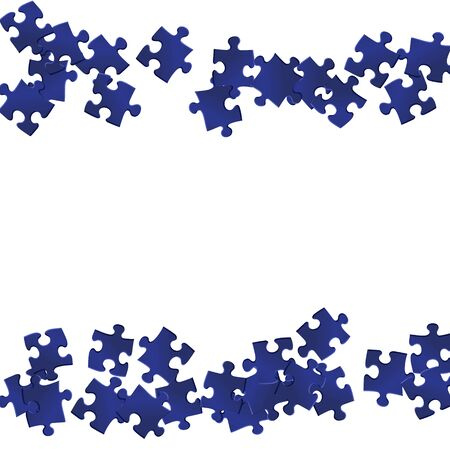 Business brain teaser jigsaw puzzle dark blue parts vector illustration. Scatter of puzzle pieces isolated on white. Cooperation abstract concept. Game and play symbols.