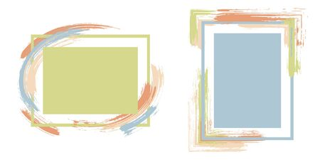 Stylish frames with paint brush strokes vector collection. Box borders with painted brushstrokes backgrounds. Educational graphics design flat frame templates for banners, flyers, posters, cards.