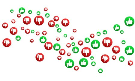 Thumbs up thumbs down red and green isolated vector like dislike social media signs scatter. Recommendation icons, good and bad choice labels. Vote web buttons with man hand. Social media like icons.