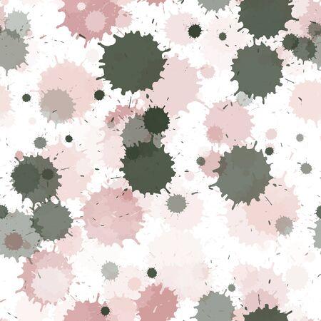Malen Sie transparente Flecken nahtlose Tapetenmuster. Bunte Tintenspritzer, Sprühflecken, schmutzige Fleckenelemente nahtlos. Aquarellfarbe spritzt Muster, verschmiert flüssige Flecken. Vektorgrafik