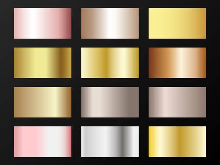 Trendy golden, silver, bronze, pink gold gradients. Metallic foil texture silver, steel, chrome, platinum, copper, bronze, aluminum, pink gold gradient swatches. Shiny metallic swatch templates.