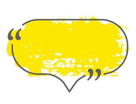 Yellow speech or think bubble isolated on white. Gray border. Think bubble in grunge style. Template for social network and label. Creative thought balloon. Speech bubble line art vector illustration.