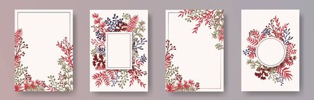 Tropical herb twigs, tree branches, flowers floral invitation cards set. Herbal corners romantic cards design with dandelion flowers, fern, lichen, olive tree leaves, savory twigs.