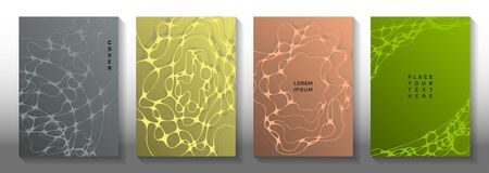 Magnetic field idea abstract vector covers. Smooth waves net textures. Modern title page vector layouts. Radiology cover pages graphic design set.