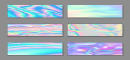 Holography trendy banner horizontal fluid gradient mermaid background collection. Opalescence holography texture gradients. Fluid liquid effect minimal mermaid backgrounds. 일러스트