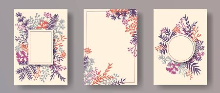 Watercolor herb twigs, tree branches, leaves floral invitation cards templates. Plants borders vintage invitation cards with dandelion flowers, fern, lichen, olive tree leaves, savory twigs. Illusztráció
