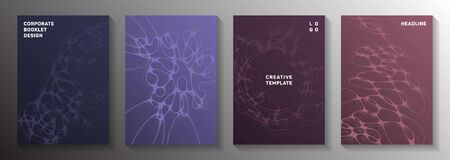 Wireframe rendering idea abstract vector covers. Fluid curve lines bubble backdrops. Stylish brochure vector layouts. Hi tech cover pages graphic design set.