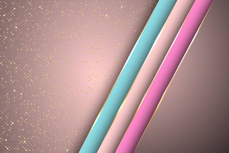 Gold halftone dots and inclined ribbon stripes banner vector design. Rich business background template. Abstract wallpaper modern design. Ribbon stripes overlap on halftone dots background. Ilustração