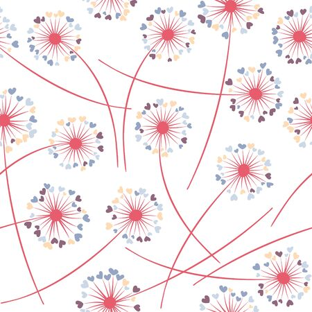 Dandelion blowing plant vector floral seamless pattern. Spring flowers with heart shaped petals. Vector dandelion herbs meadow flowers floral background. Meadow blossom fabric print graphics.