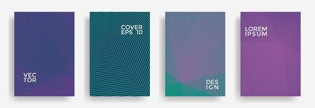 Hexagonal halftone pattern cover pages vector abstract design. Polygonal lines texture patterns. Annual report templates set. Cover page layouts, flyers, banners with halfton texture.