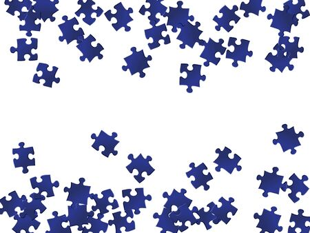 Abstract tickler jigsaw puzzle dark blue parts vector illustration. Group of puzzle pieces isolated on white. Strategy abstract concept. Jigsaw gradient plugins.