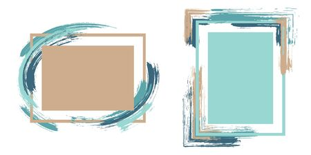 Abstract frames with paint brush strokes vector collection. Box borders with painted brushstrokes backgrounds. Advertising graphics design flat frame templates for banners, flyers, posters, cards.