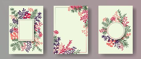 Simple herb twigs, tree branches, leaves floral invitation cards collection. Herbal corners romantic cards design with dandelion flowers, fern, lichen, olive branches, sage twigs.