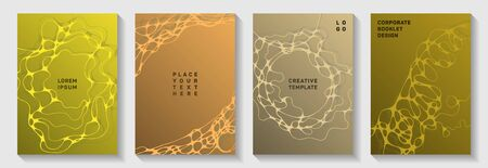 Premium club party posters. Fluid curve lines geometry backdrops. Minimal brochure vector templates. Night party posters collection fluid curves graphic design.