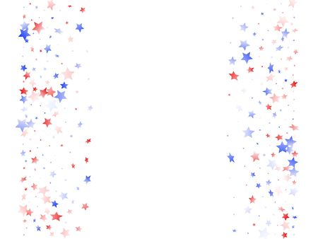 American Presidents Day stars background. Holiday confetti in USA flag colors for Patriot Day. Cool red blue white stars on white American patriotic vector. Fourth of July stardust scatter.