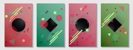 Memphis cover page layouts kit. Cool front page templates vector set with geometric shapes uprising motion. Abstract memphis geometry covers graphic design for notepads, brochures.