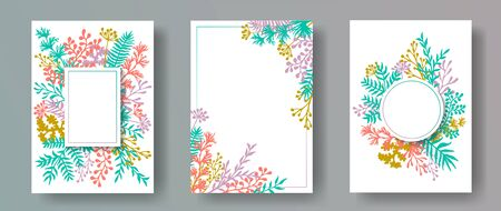 Watercolor herb twigs, tree branches, leaves floral invitation cards collection. Bouquet wreath rustic cards design with dandelion flowers, fern, lichen, eucalyptus leaves, savory twigs.