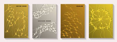 Biotechnology and neuroscience vector covers with neuron cells structure. Marble waves net textures. Abstract magazine vector templates. Microbiology science covers.