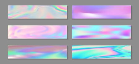 Holography vivid banner horizontal fluid gradient mermaid backgrounds vector collection. Opalescence holographic texture gradients. Fluid graphic design minimal mermaid backgrounds.