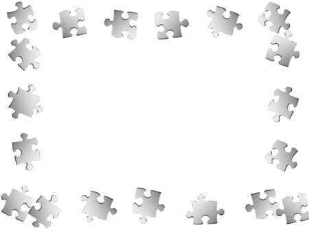 Abstract crux jigsaw puzzle metallic silver pieces vector background. Group of puzzle pieces isolated on white. Teamwork abstract concept. Jigsaw pieces clip art.
