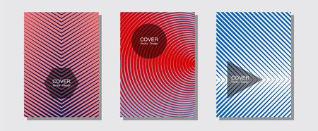 Certificate layouts vector graphic design set. Technicolor composition. Halftone lines music poster background. Simple book covers. Flat lines shapes backgrounds for certificate layout.