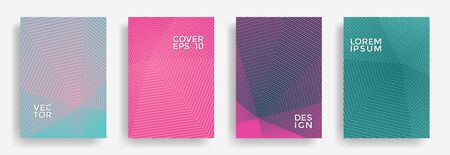 Hexagonal halftone pattern cover pages vector creative design. Hexagon lines texture patterns. Party invitation flyer templates set. Cover page layouts, flyers, banners with halfton lines.