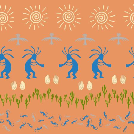 Native american indian vector ethnic tribal motifs seamless pattern. Mythical design with gecko, Kokopelli fertility god, sun, bird, cacti. Navajo indian fashionable print pattern.