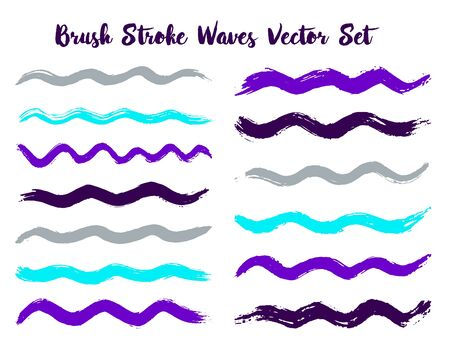 Graphic brush stroke waves vector set. Hand drawn violet cyan grey brushstrokes, ink splashes, watercolor splats, hand painted curls. Interior paint color palette samples. Wavy stripes vector set. Ilustração