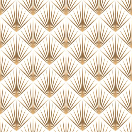 Art deco trellis lines seamless pattern vector graphic design. Geometric art deco wallpaper interior repeating pattern with gold lines shapes on white. Vintage royal style. Ilustração