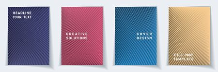 Cover page abstract layout vector design set. Crossed lines dynamic background patterns. Poster templates.  Business gradient covers graphic collectoin.