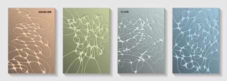 Biotechnology and neuroscience vector covers with neuron cells structure. Crossed curve lines blockchain backgrounds. Subtle brochure vector layouts. Scientific biotechnology covers.