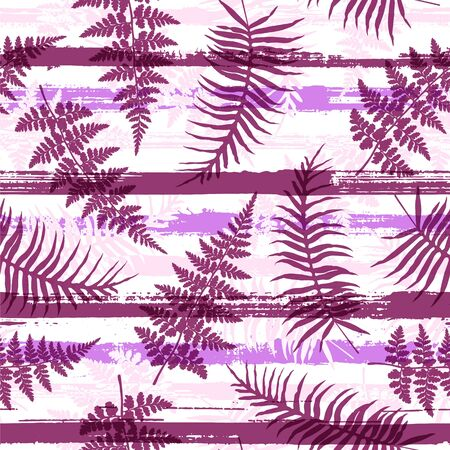 Cute new zealand fern frond and bracken grass overlaying stripes vector seamless pattern. Bali forest foliage swimwear textile print. Tropical leaves and stripes seamless.