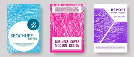 Brochure layout design templates. Teal pink purple waves texture backdrops. Business brochure vector cover layouts set. Presentation slides cover pages. Buoyant wavy flux background pattern.