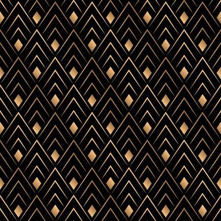 Art deco trellis lines seamless pattern vector graphic design. Black and gold geometric art deco wallpaper interior repeating pattern thin lines. Vintage luxurious style.