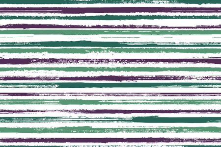 Watercolor hand drawn irregular stripes vector seamless pattern. Material cotton fabric print design. Grainy geometric irregular stripes, lines banner background. Endless ornament. Ilustração