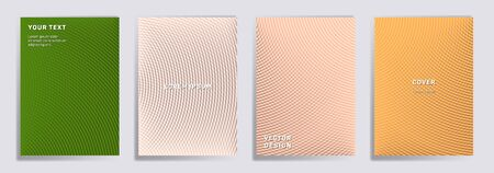 Semicircle lines halftone grid covers vector set. Minimal brochure title page layouts. Notepad, magazine, business catalog covers with halftone gradient patterns. Intersecting circles prints. Ilustração