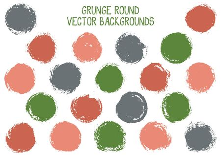 Vector grunge circles design. Rough stamp texture circle scratched label backgrounds. Circular icon, chalk logo shape, oval button elements. Grunge round shape banner backgrounds set.