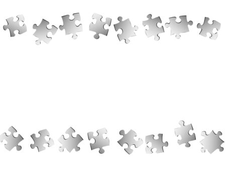 Business riddle jigsaw puzzle metallic silver parts vector illustration. Top view of puzzle pieces isolated on white. Strategy abstract concept. Jigsaw gradient plugins.