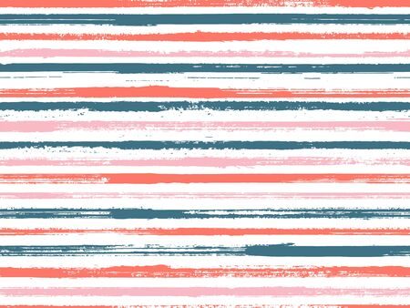 Hand painted stripes clothes seamless vector pattern. Curtains old style pattern. Grunge brush stroke stripes print design for clothes. Ink paint lines textured background. Trendy colors design. Ilustração