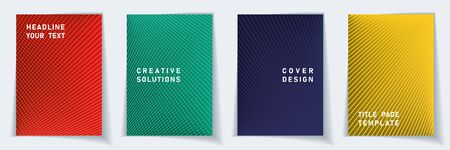 Cover page minimal layout vector design set. Crossed lines texture background patterns. Corporate templates.  Educational gradient covers graphic collectoin. Ilustração