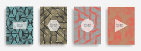Halftone shapes business brochure covers vector design. Background patterns with halftone triangle, circle, polygon geometric shapes texture. Cool banners set. Linear geometry covers design.