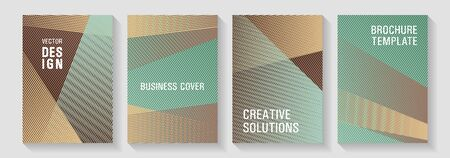 Brochure cover layouts halftone vector set. Educational certificates concept. Technological 2d backdrops. Cover templates set with logo places. Future geometric patterns Eps10 vector. Ilustração