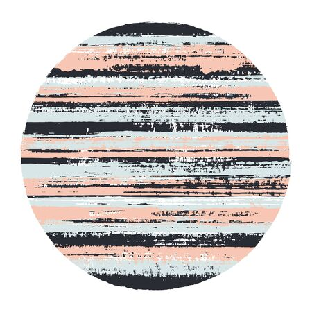 Retro circle vector geometric shape with striped texture of paint horizontal lines. Old paint texture disk. Label round shape logotype circle with grunge background of stripes.