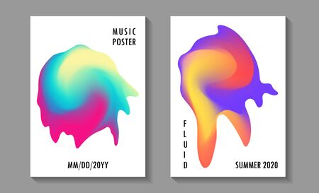 Summer disco party posters, colorful fluid liquid melting shapes. Club night modern flyers. Abstract gradients fluid shapes backgrounds for covers. Music party banners, bright disco posters. Ilustração