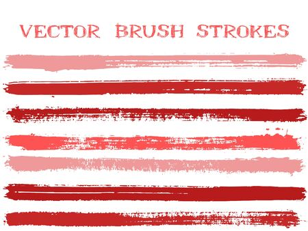 Colorful ink brush strokes isolated design elements. Set of paint lines. Grungy Ink brushe stripes isolated on white, vector color scheme samples.