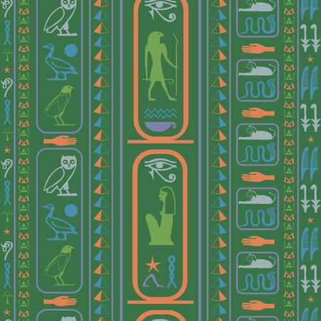 Antique egypt writing seamless pattern. Hieroglyphic egyptian language symbols origami. Repeating ethnical fashion backdrop for wrapping paper.