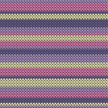 Woolen horizontal stripes knitted texture geometric vector seamless. Rug knit effect ornament. Nordic style seamless knitted pattern. Repeatable background. Ilustração